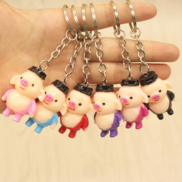 paintings bottles NZ - Resin stereo color hand-painted cute piggy Westworld characters pig Ba jing creative key buckle pendant wholesale