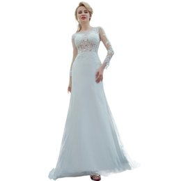 simple summer long sleeve wedding dress UK - Luxury Long Sleeve Wedding Dresses White Fish Tail Lace Long Sleeved High Quality Freight Spring Sticker Beaches Wedding Dresses DH103
