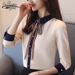 $enCountryForm.capitalKeyWord NZ - 2019 fashion office lady shirt women blouses long sleeve chiffon women's clothing beige slim feminine tops shirts blusas D509