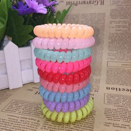 Discount plastic phone cord - Candy Colored Bracelet 25 Pieces 27 Color 6.5 Cm High Quality Phone Cord Gum Hair Band Girl Elastic Band Elastic EEA22