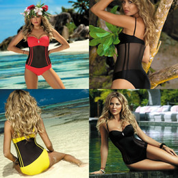 bbe1b2f342 One Piece Swimsuit Mesh Bikini Set Conjoined Sexy Net Lace Women  Transparent Colors Mix Summer 33qj F1