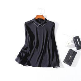 9a485d6d3f994 2019 Ladies Luxury Newest Pure Color Beaded 100% Silk Lapel Collar Blouse  Women Long Sleeve Fashion Elegant Shirt Shirts N30BBS81199