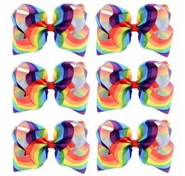 $enCountryForm.capitalKeyWord Australia - 8 Inch Fashion Handmade Large Rainbow Striped Bow Clip Grosgrain Ribbon Hair Bows With Clip For Kids Headware Hair Accessory Hairpins 684