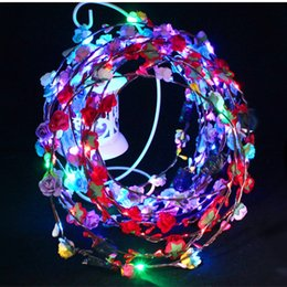 $enCountryForm.capitalKeyWord Australia - 100pcs Flashing LED strings Glow Flower Crown Headbands Light Party Rave Floral Hair Garland Luminous Wreath Wedding Flower Girl kids toys