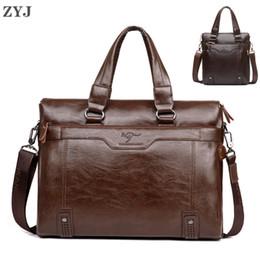 Laptop Travelling Bag Australia - ZYJ Men's Business Leather Shoulder Laptop Briefcase Bags Sling Travel Messenger Portfolio Bag Causal Bolsa Lawer Handbag