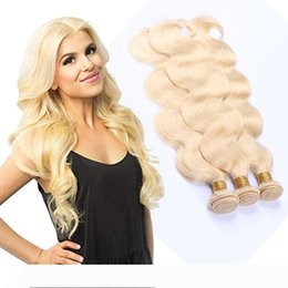 body wave hair one piece Canada - A Peruvian Human Hair Extensios Remy Hair Products 613# Body Wave Virgin Hair Bundles 3 Pieces One Set 613 Blonde Color Body Wave