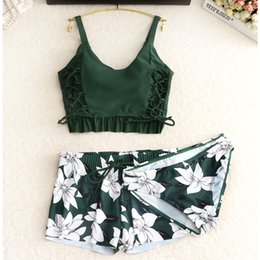 skirted bikini sets Australia - Set 2018 Swimwear Women Tankini Vintage Floral Print Swimsuit Padded Swimwear Bathing Suit Beach Wear Bikini Short Skirt Y19072301