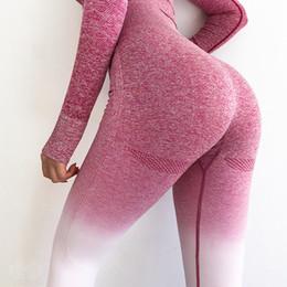 Pink Polyester Leggings Australia - Women's High Waist Pink Yoga Pants Tummy Control Workout Running 4 Way Stretch Sport Leggings Seamless Gym Leggings