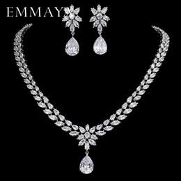 Bride Blue Jewelry Sets Australia - Emmaya Romantic Trendy Set Jewelry Flower Design Water Drop Cz Wedding Jewelry Sets For Brides Silver-color Jewelry C19021601