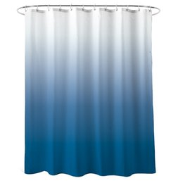 attached rings UK - Shower Curtain Blue for Bathroom Waterproof Gradient Color Design Fabric Shower Curtain Hook with Ring Attached, 72 Inches Long,
