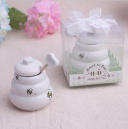 $enCountryForm.capitalKeyWord UK - Meant to Bee Ceramic Honey Pot 80SET Lot wedding favor baby shower party birthday gift children gift present For guests