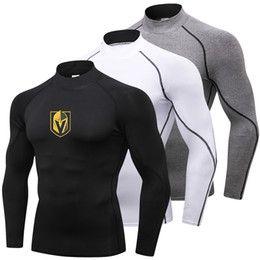 Wholesale Hot Vegas Golden Knights Running Shirt Men Long Sleeve Fitness Sportswear Turtleneck Sport Shirt Compression Gym Rashgard