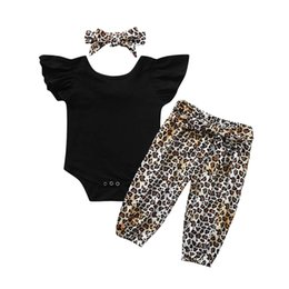 $enCountryForm.capitalKeyWord NZ - ARLONEET Infant Baby Girls Solid Romper Bodysuit+Leopard Print Pants+Headband Outfits For Baby Kids Boy Girl Clothing *18