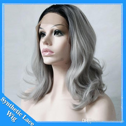 Discount ombre lace front wig bob - Grey Ombre Short bob Wig Synthetic Lace Front Wig Dark Roots Body Wave Silver Grey Replacement Hair Wigs For Women Heat