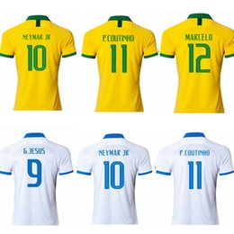 eab6c77ef44 2019 Brasil soccer jerseys NEYMAR JR FIRMINO G.JESUS P.COUTINHO WILLIAN  FRED football shirts maillot foot Copa America