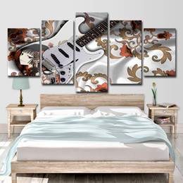 Paintings Guitars Wall Australia - Home Decor Canvas Wall Art Pictures Living Room Modern 5 Panel Guitar Music Poster HD Printed Abstract Painting