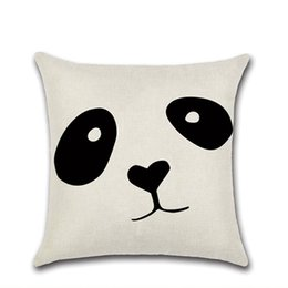 Wholesale black patterned cushion resale online - Pillow Covers Panda Printed Throw Pillow Case Geometry Pattern Cushion Covers Home Decorative Pillowcase Black and White Styles LQPYW1114