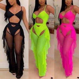 $enCountryForm.capitalKeyWord Australia - 2019 New Sexy Women Spaghetti Strap Solid Bodysuit Playsuit + Ruffled Mesh Pants Swimsuit Set Female Summer Beach Set Outfits