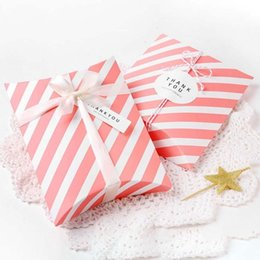 Wholesale Boxes Packaging Australia - 5pcs Pillow Shape Paper Candy Box Gift Bag Wedding Baby Shower Favors Gift Packaging Boxes Chocolate Cookie Box Party Supplies