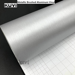 Metallic silver wrap online shopping - 10cm cm cmx152cm Car Styling Silver Metallic Brushed Aluminum Vinyl MaBrushed Car Wrap Film Sticker Decal With Bubble