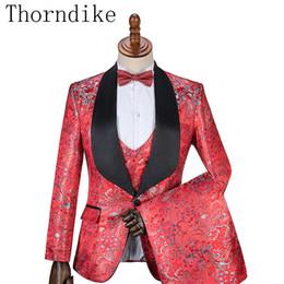 $enCountryForm.capitalKeyWord NZ - wholesale Red Jacquard Wedding Men Suit Tailored Suits For Men Mens Suit Bridegroom Tuxedo Elegant Business Casual Suit
