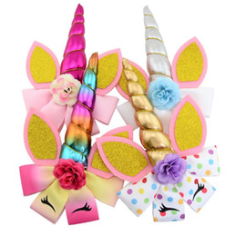 girls school hair accessories 2019 - Glitter Unicorn Hair Clips for Girls Sequin Flower Hair Clip School Kids Party Hairgrips Hair Accessories DIY Boutique K