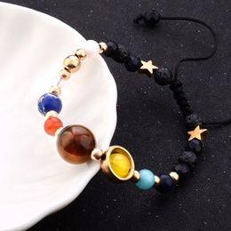 Planet Charm Bracelet Australia - 2019 Fashion New Bracelet Galaxy Solar System Eight Planets Theme Natural Stone Beaded Gift Charm Jewelry