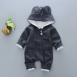 cute baby boy rompers Australia - Baby Rompers winter Cute Rabbit Hooded Long Sleeve toddler Jumpsuits Baby boy girl clothes Cotton infant Newborn warm