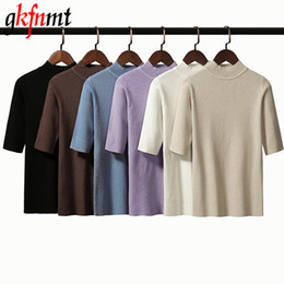 $enCountryForm.capitalKeyWord Australia - Gkfnmt 2019 New Summer Knitted Slim Pullover Women Sweater Shirt Female All-match Basic Half Sleeve Candy Colors Tops Clothing
