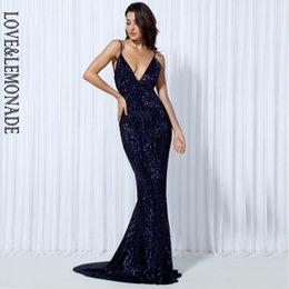 Silver V NZ - Love≤monade . Elastic Sequin V Collar Exposed Back Long Dress Navy silver pink black red champagne Lm80119 Y19050905