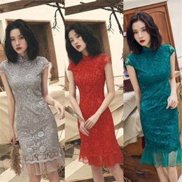 $enCountryForm.capitalKeyWord Australia - 2019 Sexy traditional chinese style evening dress formal embroidery cheongsam lace Womens qipao luxury dress fishtail red grey