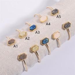 $enCountryForm.capitalKeyWord Australia - Elegant Druzy Drusy Bangle Bracelet Hexagon Resin Stone Druse Open Cuff Gold Color Brand Jewelry for Women