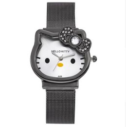 Wholesale Cat Quartz Hello Kitty Watch Women Luxury Fashion Lady Girl Silver Stainless Steel Net Band Cute Wristwatch Crystal Hour Gold