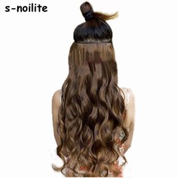 """Clip Bangs Black Hair Australia - 18-28"""" Curly 3 4 Full Head Clip In Hair Extensions Black Brown Blonde Real Natural Synthetic One Piece For Human"""