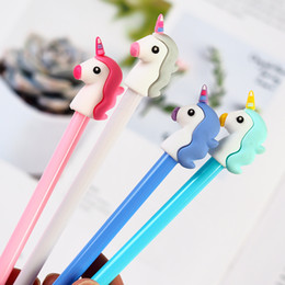 Stationery Australia - 36 pcs Lot Color Unicorn gel pens 0.5mm roller ball Black ink pen writing gift Stationery Office school supplies Canetas