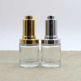 CosmetiCs dropper online shopping - 30ml Glass Essential oil bottle Gold silver press lid glass dropper bottle Serum hyaluronic acid cosmetic container F2009