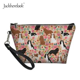 $enCountryForm.capitalKeyWord Australia - Jackherelook Cute Cavalier King Charles Spaniel Cosmetic Bag Animal Pattern Makeup Case For Female Ladies Travel Organizer Pack