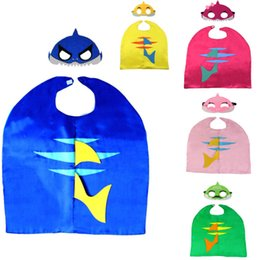 $enCountryForm.capitalKeyWord Australia - New Baby Shark Robe Cloak Cape With Mask Set Kids Cosplay Costume Cartoon Capes Sets For Children Birthday Halloween Prop Christmas HH9-2367