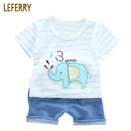 Woolen Knitted Clothes NZ - 2019 New Summer Elephant Kids Clothes Baby Boys Clothing Sets Striped T Shirt + Jeans Toddler Boys Clothing Knitted Denim