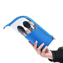 Wholesale Makeup Bag Pouch Cosmetic Stand up Brush Holder Travel Organizer Half Transparent Portable Fashion Waterproof Multifunction