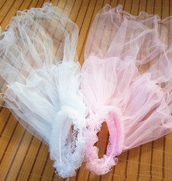 pink children veil UK - 2019 White Pink Hair Accessories For Flower Girls Two-layer Pencil Edge Lace Schleier Long Veils For Children Girls' Head Pieces