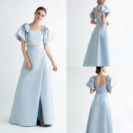$enCountryForm.capitalKeyWord Australia - Blue Girls Formal Wear Evening Dresses Sexy Front Split Two Pieces Long Gowns Open Back Party Dress