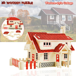 western home decor 2020 - Wooden 3D House Building Puzzles Toys for Children to DIY Western-style Cottage Model Kits Creative Gifts Desktop Home D
