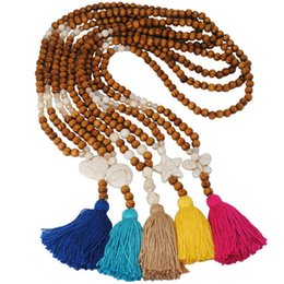$enCountryForm.capitalKeyWord Australia - New Bohemian Natural Wood Bead Chain Turquoise Stone Cross Hearts Butterfly Long Cotton Tassel Necklaces For Women YF