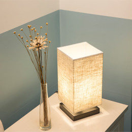 wood day beds 2019 - Desk lamp contemporary contracted linen is real wood bedroom head of a bed LED lamp Chinese style day type study sitting
