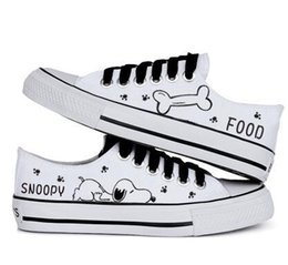 $enCountryForm.capitalKeyWord Australia - 2016 hot sale summer women casual shoe snoopy rascal rabbit hand-painted canvas shoes low shallow mouth black lacing canvas shoes female