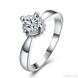 $enCountryForm.capitalKeyWord Australia - Elegant Womens Classic Design Wedding Ring Plated Silver 4 Claw 8mm Wide Austrian Crystal Zircon Ring girl Wedding Love Rings Jewelry
