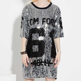 Wholesale oversized long t shirt women for sale – custom Chic Sequins T Shirts Sequined Hip Hop Bling Tees Woman Oversized Half Sleeve O Neck Shirt Stage Dance Show Club Party Tops