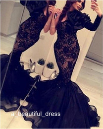 Discount champagne gowns india Arabic India Formal Mermaid Evening Gowns With One Long Sleeves Black Lace Organza Crystals Backless prom Dress