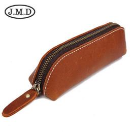 Horse Stationery Australia - J.M.D Crazy Horse Leather Storage Bag Leather Stationery Zipper Pencil Bag Glasses Bag Coin Purse 0012